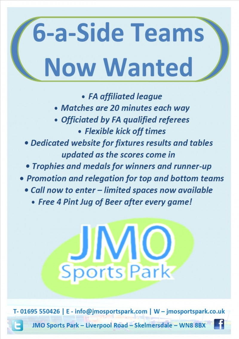 6 a side and Free Beer Poster June 2016